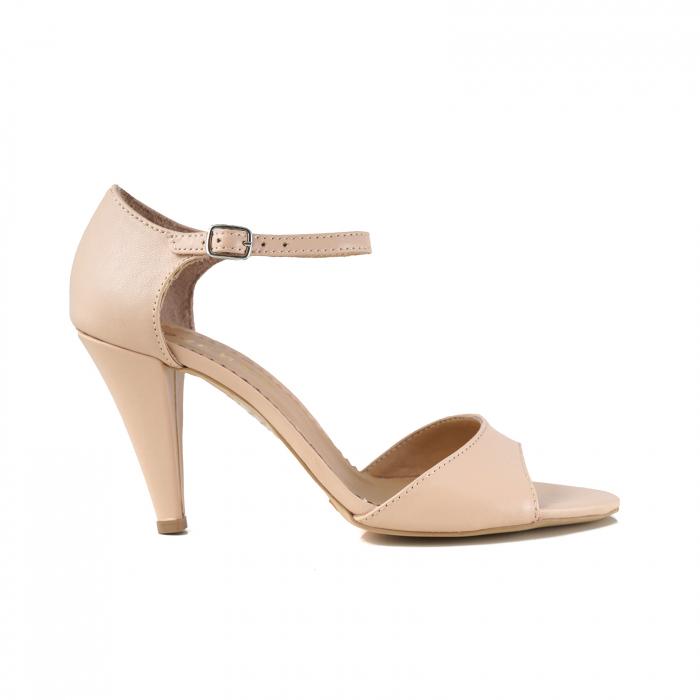 Sandale din piele naturala nude-rose, cu toc conic 0