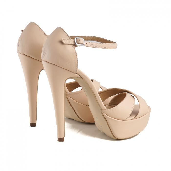 Sandale din piele naturala nude-rose, cu toc de 14cm si platforma de 3cm 2