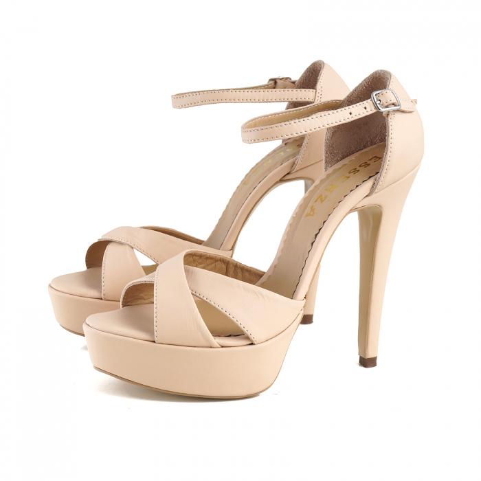 Sandale din piele naturala nude-rose, cu toc de 14cm si platforma de 3cm 1