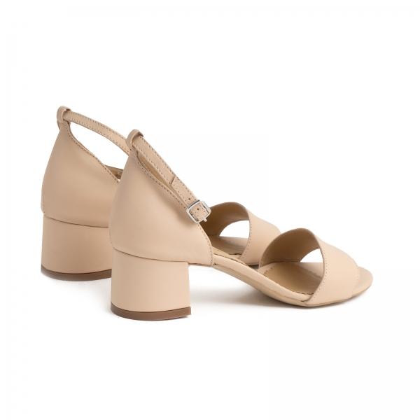 Sandale din piele naturala nude roze, cu toc patrat imbracat in piele 2