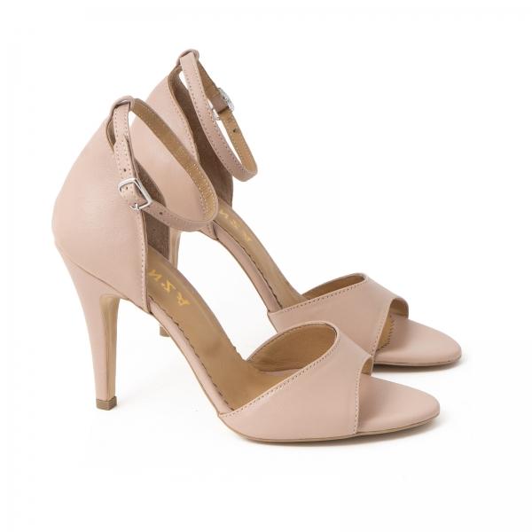 Sandale din piele naturala nude roze, cu toc stiletto 1