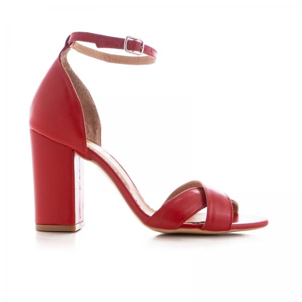 Sandale din piele naturala rosie, cu toc patrat 0