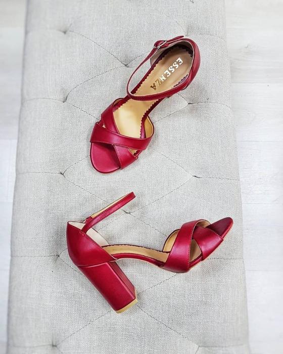 Sandale din piele naturala rosu burgund, cu toc gros se le ofera stabilitate 1