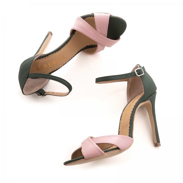 Sandale din piele naturala verde si roz [3]