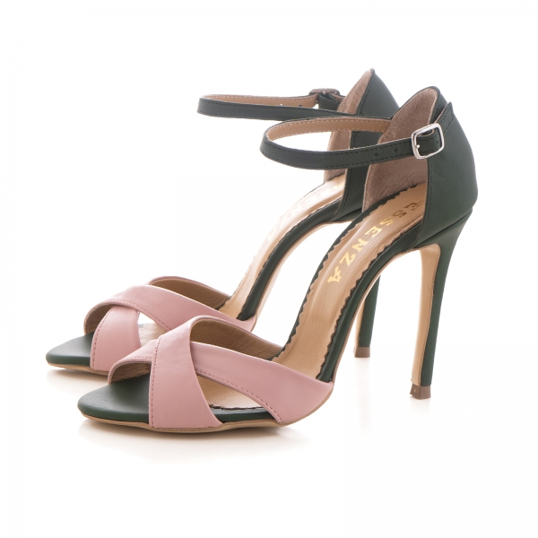 Sandale din piele naturala verde si roz [2]