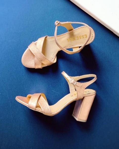 Sandale din piele metalizata auriu roze 0