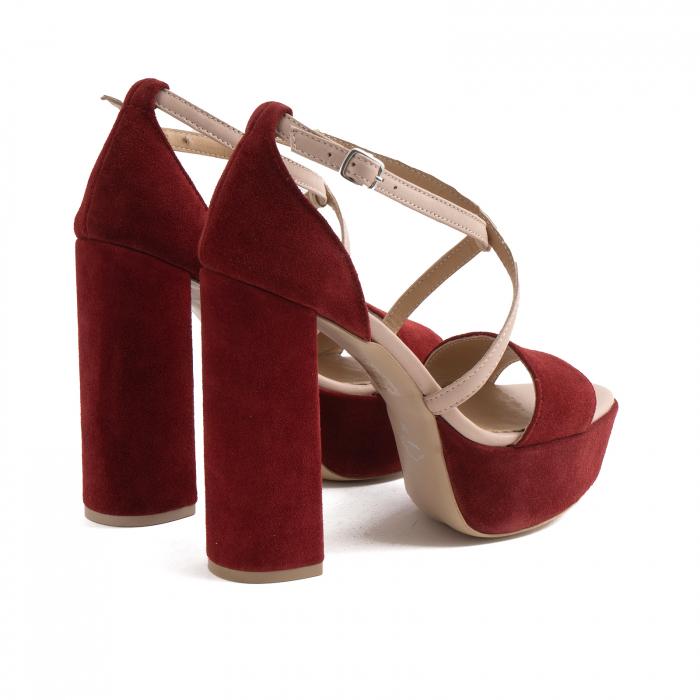 Sandale din piele nude rose si catifea burgundy, cu toc gros patrat si platforma 3