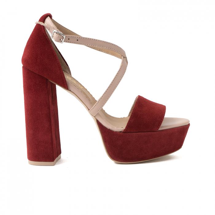 Sandale din piele nude rose si catifea burgundy, cu toc gros patrat si platforma 0