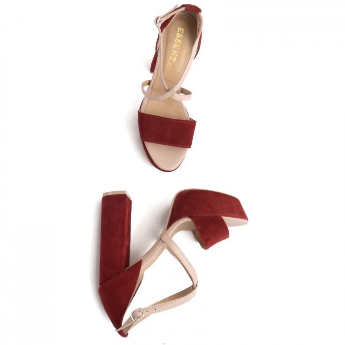 Sandale din piele nude rose si catifea burgundy, cu toc gros patrat si platforma 2
