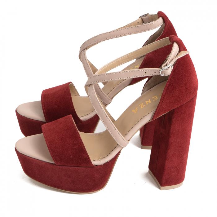 Sandale din piele nude rose si catifea burgundy, cu toc gros patrat si platforma 1