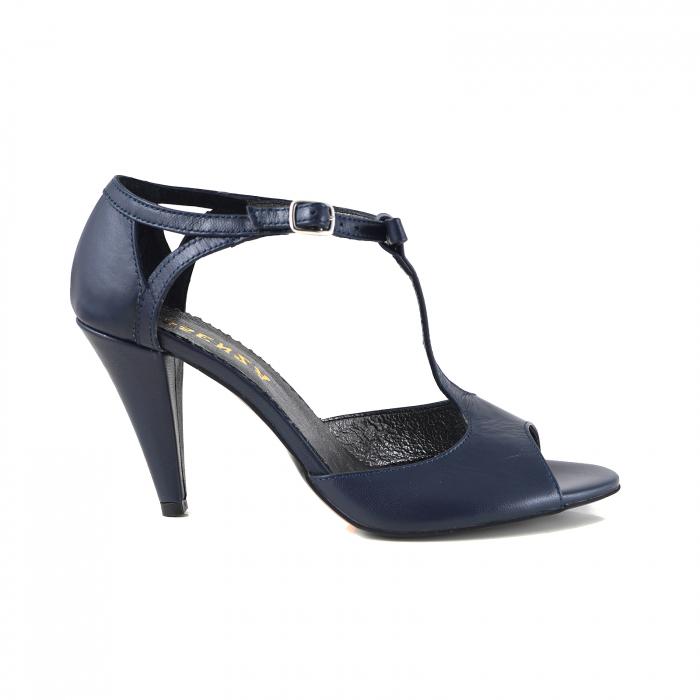 Sandale din piele sidefata, albastru inchis 0