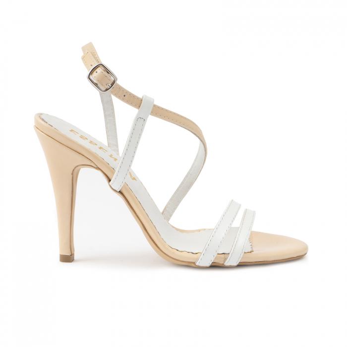 Sandale elegante cu barete subtiri din piele naturala nude si alba. 0