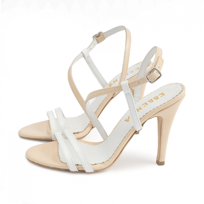 Sandale elegante cu barete subtiri din piele naturala nude si alba. 1