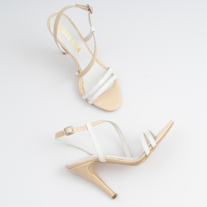 Sandale elegante cu barete subtiri din piele naturala nude si alba. 3