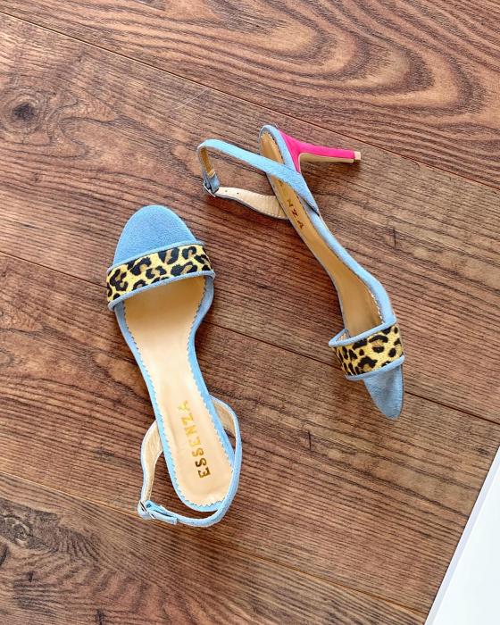 Sandale elegante din piele intoarsa albastru deschis, piele nabuc roz ciclam si piele cu animal print tip leopard. [1]
