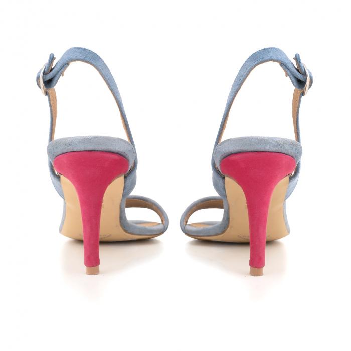 Sandale elegante din piele intoarsa albastru deschis, piele nabuc roz ciclam si piele cu animal print tip leopard 3