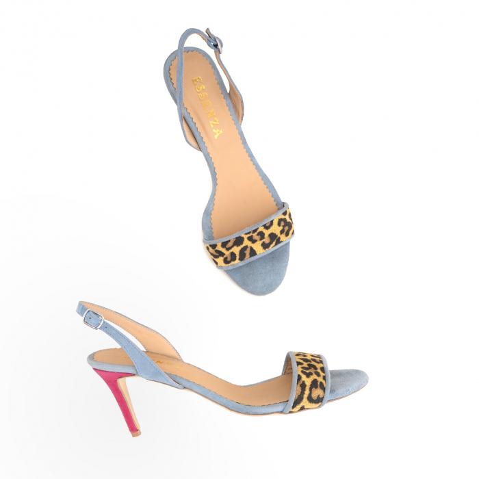 Sandale elegante din piele intoarsa albastru deschis, piele nabuc roz ciclam si piele cu animal print tip leopard 2