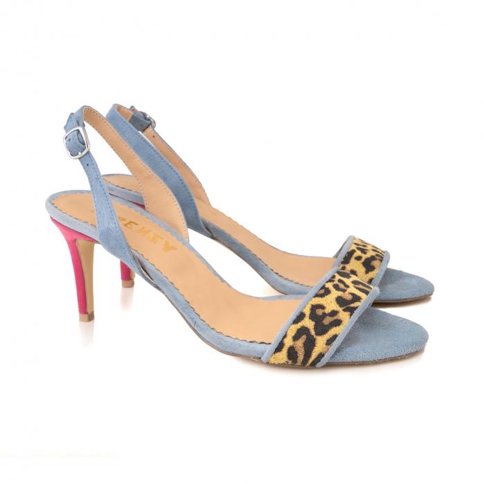 Sandale elegante din piele intoarsa albastru deschis, piele nabuc roz ciclam si piele cu animal print tip leopard 1