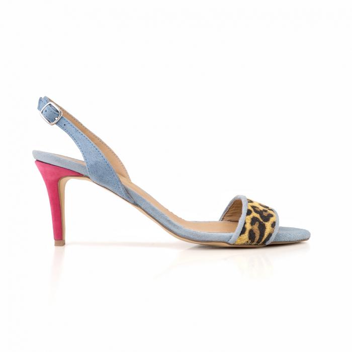 Sandale elegante din piele intoarsa albastru deschis, piele nabuc roz ciclam si piele cu animal print tip leopard 0