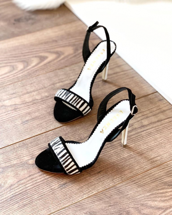 Sandale elegante din piele intoarsa neagra si animal print. [1]