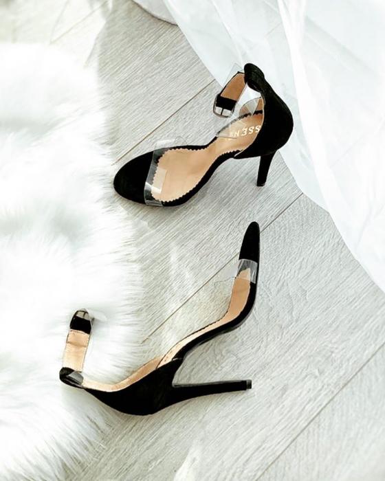 Sandale elegante din piele intoarsa neagra si plastic 0