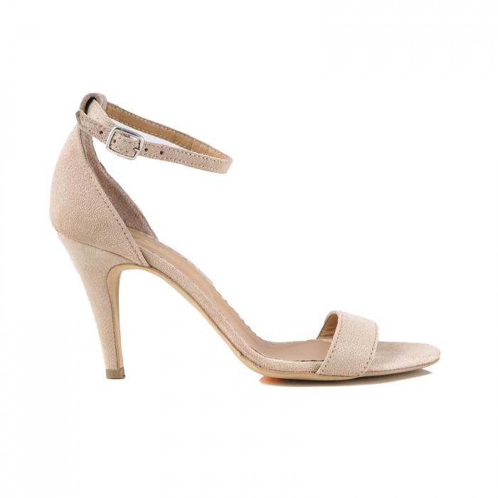 Sandale elegante, din piele intoarsa nude rose 0