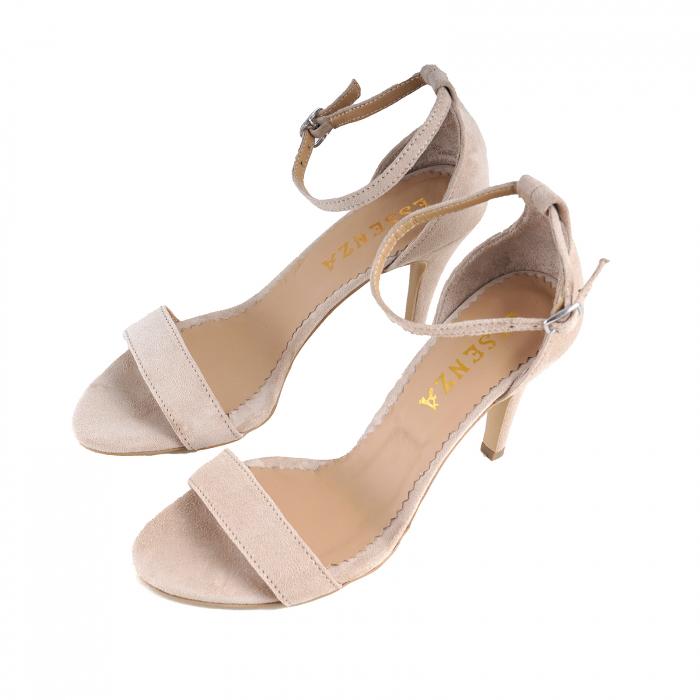 Sandale elegante, din piele intoarsa nude rose 1