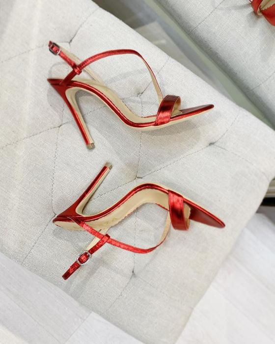 Sandale elegante din piele laminata rosie, cu toc stiletto. 2