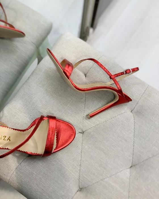 Sandale elegante din piele laminata rosie, cu toc stiletto. 1