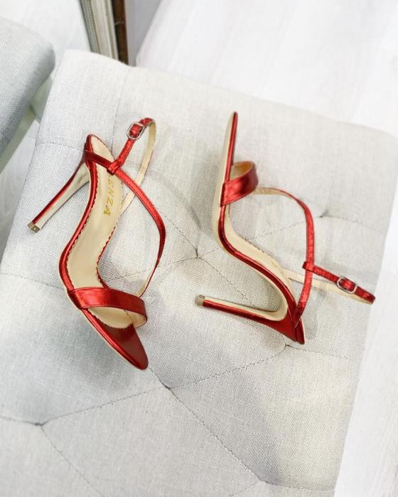 Sandale elegante din piele laminata rosie, cu toc stiletto. 0