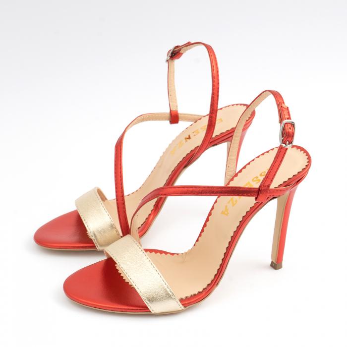 Sandale elegante din piele laminata rosie si aurie, cu toc stiletto 1