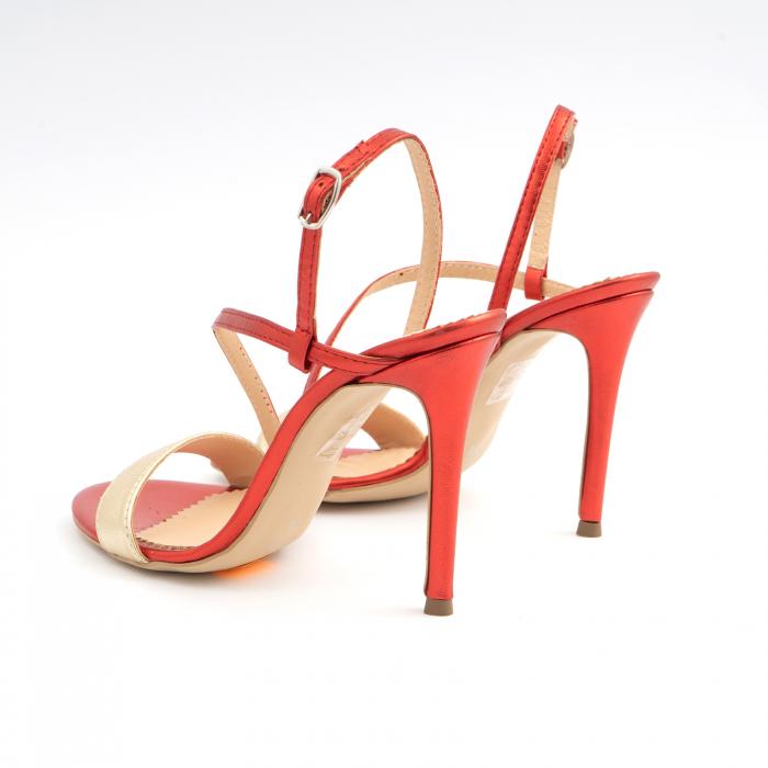 Sandale elegante din piele laminata rosie si aurie, cu toc stiletto 3