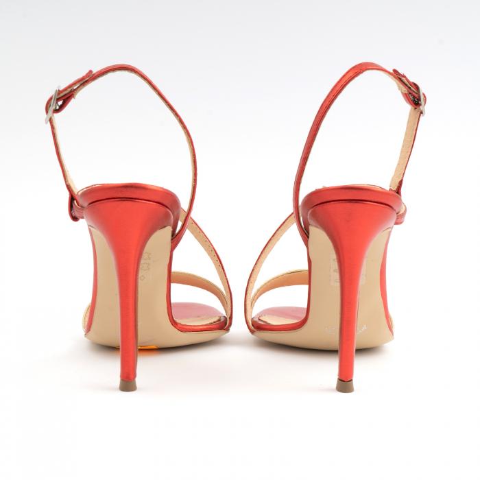 Sandale elegante din piele laminata rosie si aurie, cu toc stiletto 4