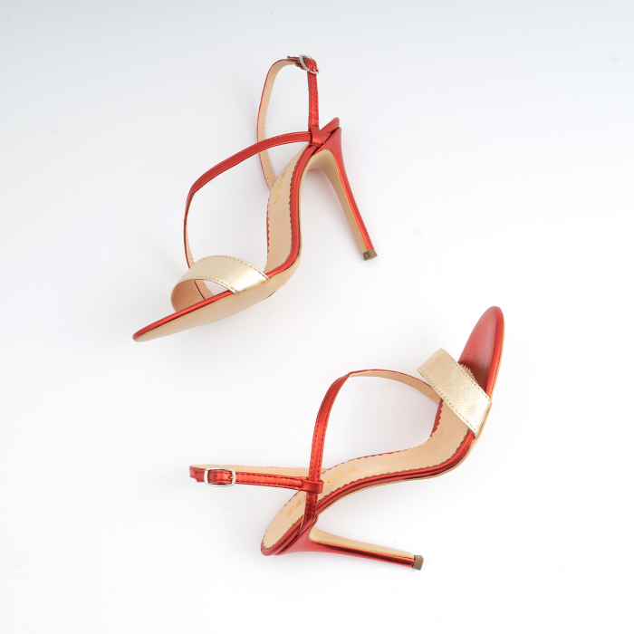 Sandale elegante din piele laminata rosie si aurie, cu toc stiletto 5
