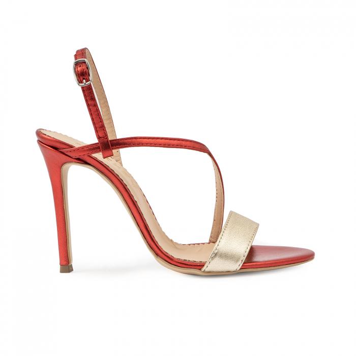Sandale elegante din piele laminata rosie si aurie, cu toc stiletto 0