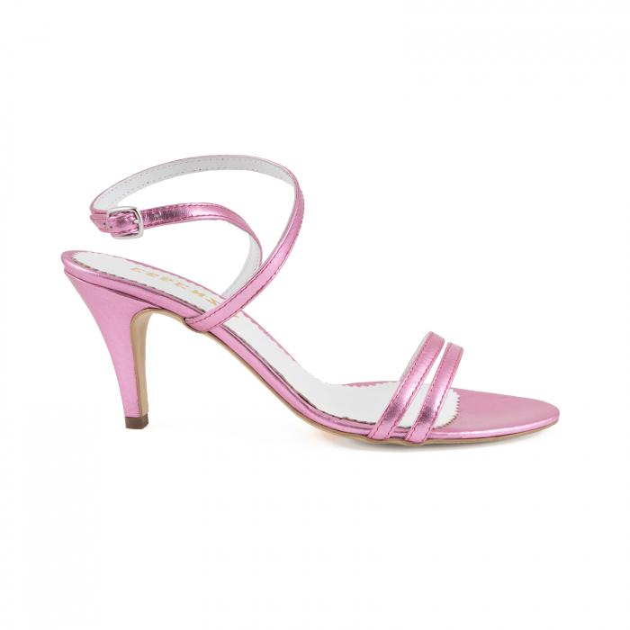 Sandale elegante din piele laminata roz ciclam 0