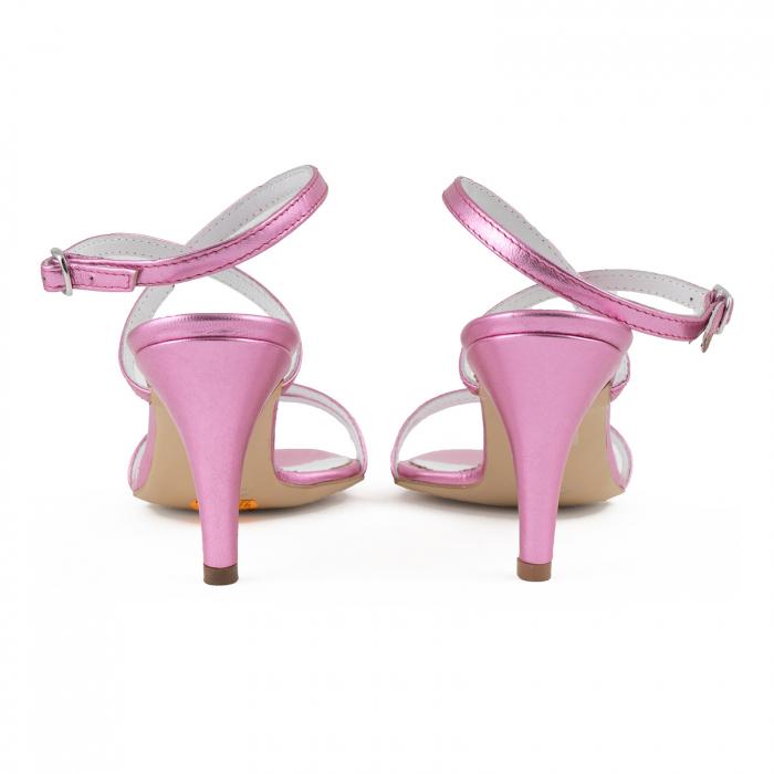 Sandale elegante din piele laminata roz ciclam 3