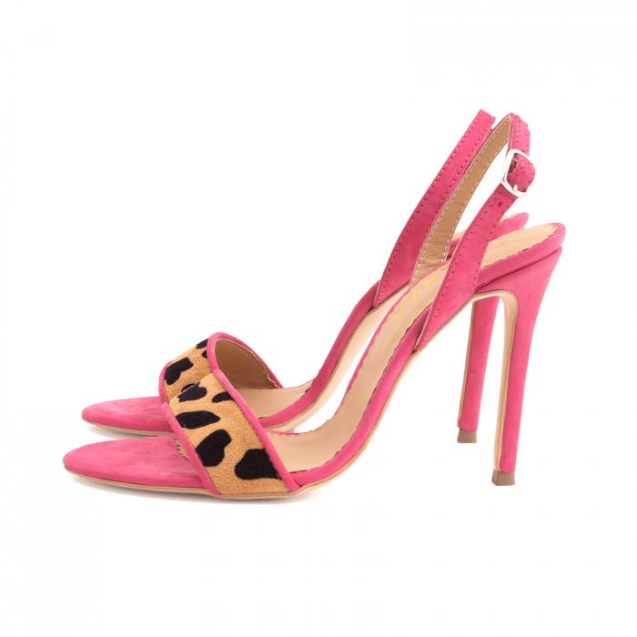 Sandale elegante din piele nabuc roz intens si animal print 1
