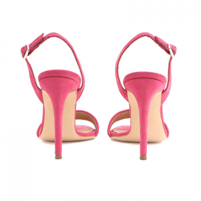 Sandale elegante din piele nabuc roz intens si animal print 4