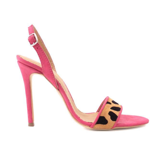 Sandale elegante din piele nabuc roz intens si animal print 0