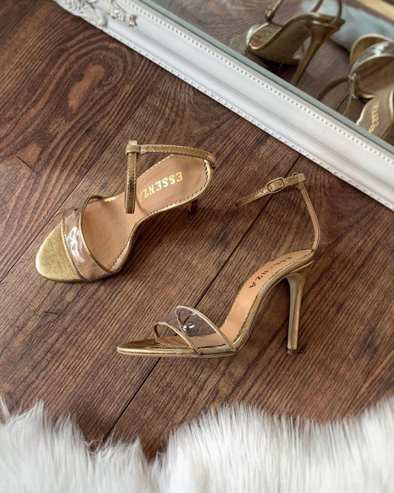 Sandale elegante din piele naturala auriu patinat si plastic, cu toc stiletto 0