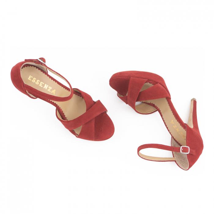 Sandale  cu platforma, din piele intoarsa rosie [4]