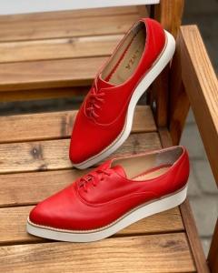 Pantofi oxford, din piele naturala rosie0