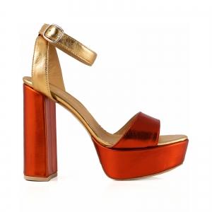 Sandale din piele laminata portocaliu intens si auriu, cu toc gros patrat si platforma [0]