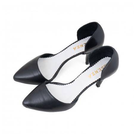 Pantofi stiletto decupati(interior/exterior), realizati din piele naturala neagra2