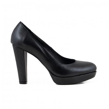 Pantofi din piele naturala neagra, cu toc gros si platforma0