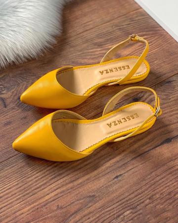 Sandale cu varf ascutit , din piele naturala galbena0