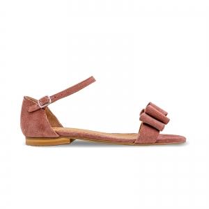 Sandale cu talpa joasa, din piele intoarsa roz somon, cu fundite [0]