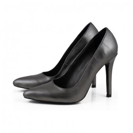 Pantofi Stiletto din piele naturala gri nchis platina1