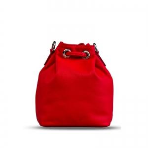 Poseta Kristy mini bucket  din piele naturala rosie5